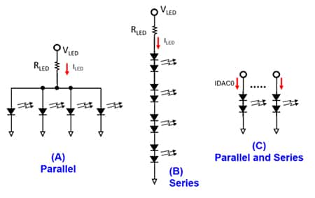 Diagram of LED driving configurations: parallel (A), series (B), and a combination (C)